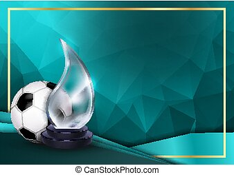 Soccer Certificate Diploma With Glass Trophy Vector. Football. Sport Award Template. Achievement Design. Honor Background. A4 Horizontal. Illustration