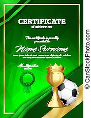Soccer Certificate Diploma With Golden Cup Vector. Football. Sport Award Template. Achievement Design. Honor Background. A4 Vertical. Illustration