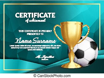 Soccer Certificate Diploma With Golden Cup Vector. Football. Sport Award Template. Achievement Design. Honor Background. A4 Horizontal. Illustration