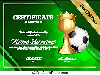 Soccer Certificate Diploma With Golden Cup Vector. Sport Graduation. Elegant Document. Luxury Paper. A4 Horizontal. Championship Illustration