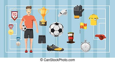 Soccer champion banner horizontal, cartoon style