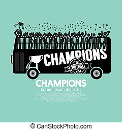 Soccer Champions Celebrate On Bus.