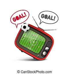 Soccer Championship on TV with Goal Text on Speech Bubble. Vector Football Match on Retro Television with Ball.