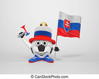 Soccer character fan supporting Slovakia - A cute and funny...