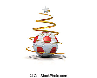 Marry christmas from the world of the soccer on white background