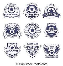 Soccer club or football league vector ball, star wings ribbon vector icons