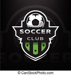 Soccer club, sport logo. - Soccer club, logo on a dark ...