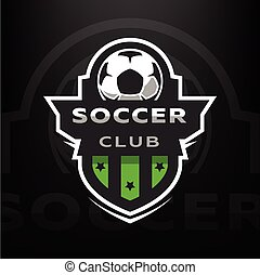 Soccer club, logo on a dark background. Vector illustration