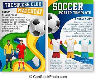 Soccer club team football match vector poster