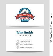 Soccer coach business card template with logo