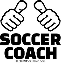 Soccer coach with thumbs. T-Shirt design.