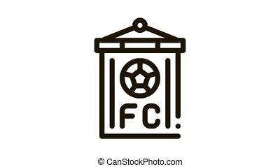 Soccer Command Flag Icon Animation. black Soccer Command Flag animated icon on white background