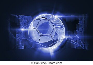 Soccer Concept Illustration with Glassy 3D Soccer Ball and ...