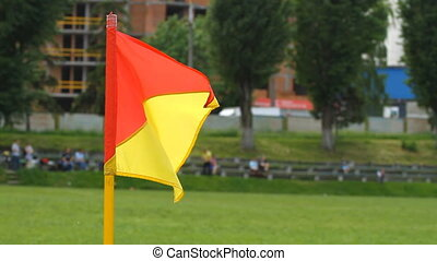 Soccer corner flag on the wind