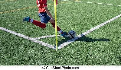 Soccer Corner Kick on a Green Grass Field