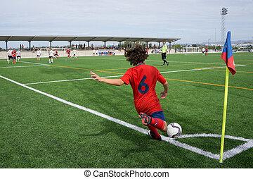 Soccer Corner Kick - VALENCIA, SPAIN - SEPTEMBER 20, 2014:...