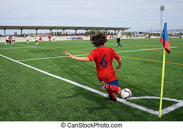 Soccer Corner Kick - VALENCIA, SPAIN - SEPTEMBER 20, 2014:...