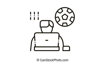 Soccer Critic Icon Animation. black Soccer Critic animated icon on white background
