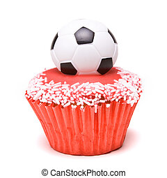 Soccer Cup Cake in the colours of england red and white for...