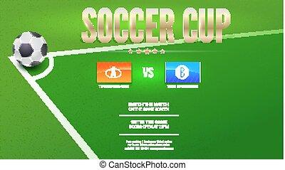 Soccer cup, European football, design for flyer. Soccer ball...
