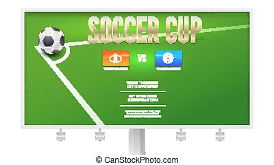 Soccer cup, European football event poster design on billboard. Soccer ball in corner of the field for a penalty shootout. Template of advertising sports event. Vector 3D illustration