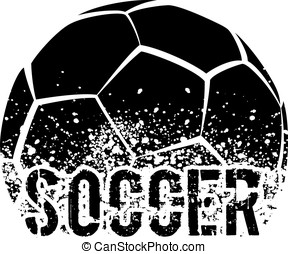 Soccer Dark Grunge - silhouette of an a soccer ball with...
