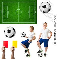 soccer, eller, fodbold, sæt, heriblandt, bold, spiller, felt