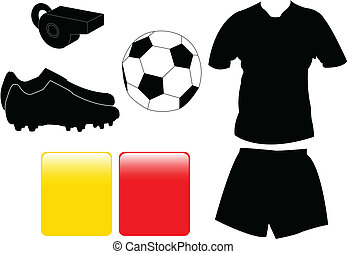 Soccer equipment collection - vector