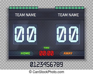 Soccer european football scoreboard with match time and score vector illustration isolated