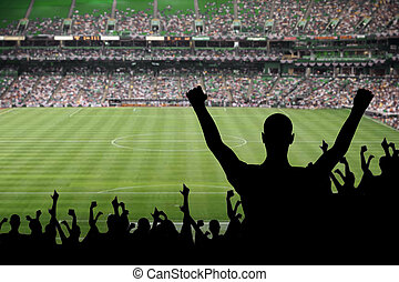 Soccer Fan Celebration - Fan celebrating a victory at a...