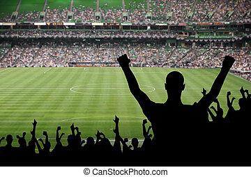 Soccer Fan Celebration - Fan celebrating a victory at a...