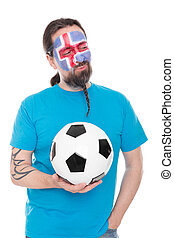 Soccer fan from Iceland with a Football in his hand
