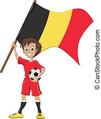 soccer fan holds Belgium flag - Happy soccer fan holds...