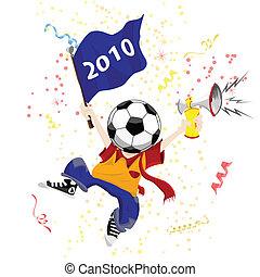 Soccer Fan with Ball Head.