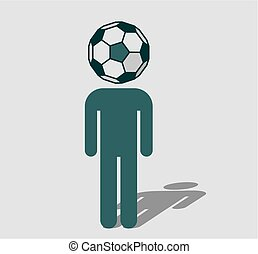 Soccer fan with ball instead head - Human icon with ball ...