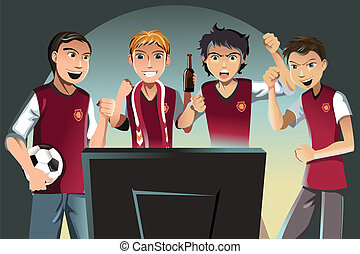 Soccer fans - A vector illustration of soccer fans watching...