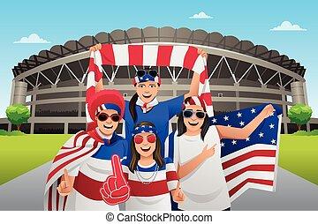 Soccer Fans Outside of the Stadium