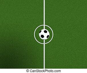 soccer felt, centrum, og, bold, top udsigt, baggrund