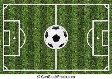 soccer felt, og, bold, top udsigt, baggrund