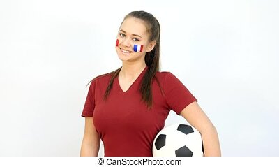 Soccer Female with French Flag - Young Girl Fan Holds Soccer...