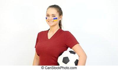 Soccer Female with Ukrainian Flag