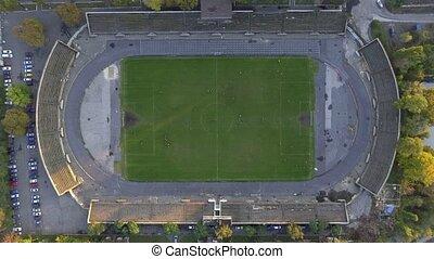soccer field , aerial wiev
