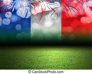 Soccer field and bokeh with france flag
