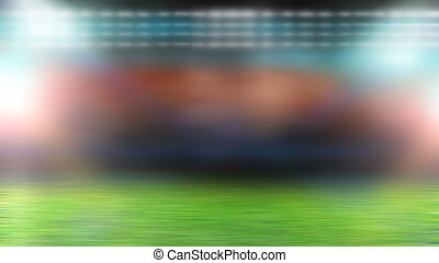 soccer field and bright floodlights. blurred background