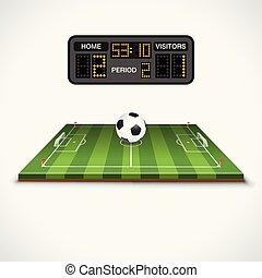 Soccer Field, Ball and Scoreboard - Soccer football field...