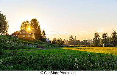 Soccer field in the rural at sunset on summer, Totma Russia