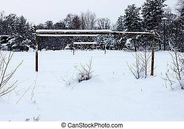 soccer field in winter snow