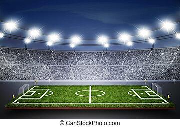 Soccer field of stadium at night