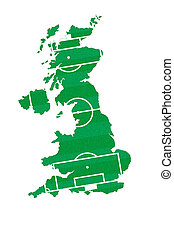 Soccer field on England map