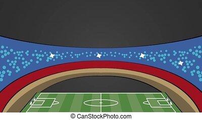 Soccer field stadium HD animation